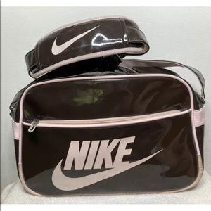 Vintage Nike Duffle Bag Patent Leather Brown Pink